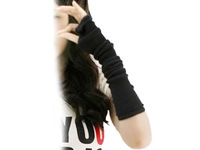 NEW Black fingerless Long glove mitten gloves gril women's braided knit Arm/Leg Leisure warmer