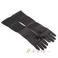21 Inch Women Arm Long Satin Elbow Gloves for Evening Wedding Black M3AO