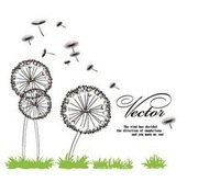 Free Shipping Wholesale--Dandelion Freedom Wall Sticker 100Sets/Lot The Decoration Of Home Wall Stickers Decor 270x110CM