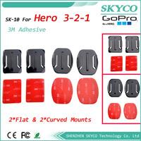 GOPRO 2pcs Flat + 2pcs Curved Mount 3M VHB Adhesive for GoPro Hero2 Hero3 Camcorder  FREE SHIPPING