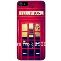 free Shipping, red Public telephone lattice telephone cover case for iphone 5 5g  retaild  can be costom