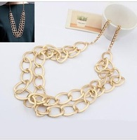 (Min Order $10 +Gift)+Free Shipping! All-match Golden Circle multilayer Long Necklace sx047