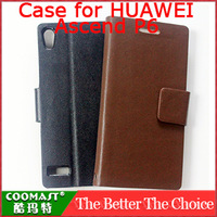 Free shipping  Plain weave PU Leather Case For  HUAWEI Ascend P6 New Arrivel mobile phone brand case