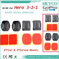 GOPRO 2pcs Flat + 2pcs Curved Adhesive Mount for GoPro Hero2 Hero3 Camcorder  FREE SHIPPING