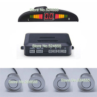 Gray LED car parking sensor system with 4pcs radar detecter and in-built buzzer best for reversing warning and assistance
