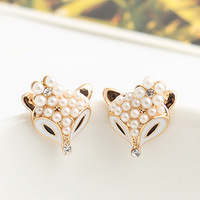 Brincos new arrival product 2013 Inlaying pearl white small flower black fox stud earring e8856