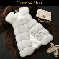 free shipping Medium-long full leather fox fur vest waistcoat fur coat women fur