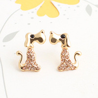 Brincos Min.order is$10  18K Gold Plated  Cartoon inlaying champagne color rhinestone stud earring e9283b