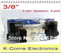 """4v320-10 Dual Coils 3/8"""" Port Pneumatic 2/5 Way Air Control Airtac Solenoid Valves DC12V DC24V AC110V AC220V"""