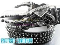 Fashion PUNK SKULL Belt Hip hop Street Dance Metal rivet Belt Cool Exaggeration Trends wild personality men gift  free shipping