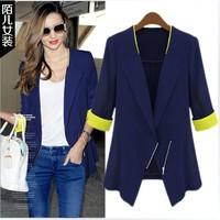Women's summer 2013 slim plus size blazer outerwear women's medium-long blazer