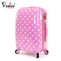 Vosloo polka dot luggage female trolley luggage travel bag luggage bag 20 24 universal wheels