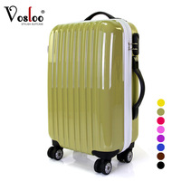 Vosloo  women's trolley suitcase luggage travel bag luggage female 20 inch size spinner wheels universal wheels multicolor