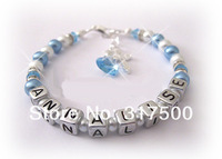 blue NAME bracelet Christening Baptism Confirmation gift BLUE WHITE Pearls