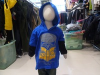 Cotton 100% male child hooded long-shirts fake second pieces t-shirt