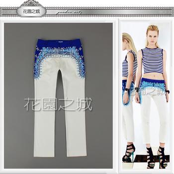 High quality fresh ocean bohemia handmade beading embroidery diamond flares white jeans capris 2013 new runway for women denim