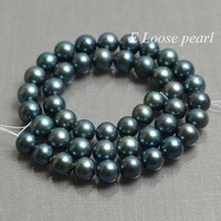 AA Freshwater Pearl Near Round Potato pearl Peacock Green Loose Pearl Beads 8.5-9.5mm 45pcs Full Strand Item No : PL2191