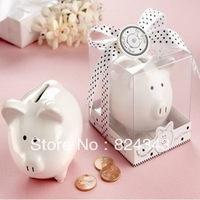 "FREE SHIPPING+""Li'l Saver Favor"" Ceramic Piggy Money Box Ceramic Piggy Banks Baby Shower Gift Piggy Saving Box+100pcs/Lot"