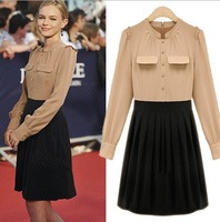 Dresses New Fashion 2013 Autumn Formal Dress Chiffon Career Block Patchwork Dress Long Sleeves Knee Length Beige Black Dress
