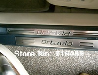 free shipping! Skoda Octavia stainless steel scuff plate door sill 4pcs   p1