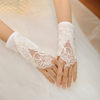 Free Shipping! 2013 Satin Lace Short Design Bridal Gloves Party Or Wedding Accessories AST016