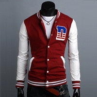 2012 men's autumn and winter clothing baseball uniform baseball shirt slim casual design short outerwear long-sleeve fleece