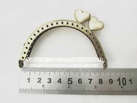 "Free shipping 8.5cm 3.3"" vintage brozen heart shape hasp bag purse frames handle diy accessory"