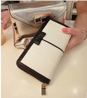 Ladies black and white color block wallet female bow clutch bow color block wallet  Free Shipping
