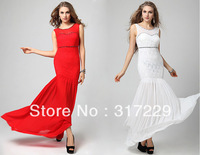 New Fashion Woman Sexy Lace Prom Formal Gowns Long Sleeveless Festival Party Evening Dress LF030