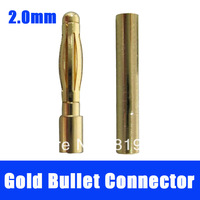 2.0mm 2.0 Gold bullet Connector Plug  for RC battery RC helicopter Airplane Hobby 100pairs
