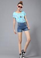 2013 new summer autumn cotton women slim  HIGH WAIST denim short, high quality lady denim short pants