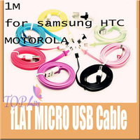 100pcs/1lot  free shipping by DHL  Colorful Noodle Flat V8 Micro USB Data Charger Cable For Samsung HTC Nokia etc