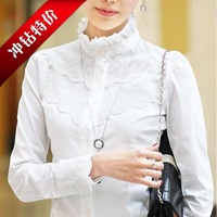 2013 women's spring OL work wear Dress shirt 100% cotton lace decoration long-sleeve plus size Blouses