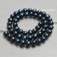 Freshwater Pearl Round Potato pearl Dark green Loose Pearl Beads 7.0-7.5mm 50pcs Full Strand Item No : PL2205