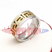 Men's Silver & Gold Tone Stainless Steel Ring Size 6,7,8,9,10,11 R#02