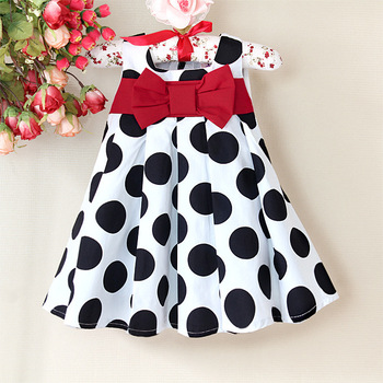 clothing girls 2013 Baby girl's Dots Summer Sleeveless Dress with red big bowknot Ruffle A pricess dress 6 pcs lot YA1013