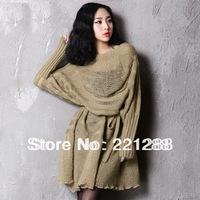 korean 2013 autumn luxury brand long-sleeved hollow knit dress ladies stylish loose wool sweater dress