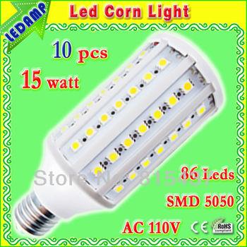 degree 360 e27 86 smd 5050 natural white corn lamp spot bulb 15 watt _ ac 110v Blanc Froid LED Bulb 10 pcs/lot free shipping