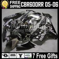 For NEWMQ75 HONDA CBR600 RR SEVENSTARS 05-06 CBR600F5 CBR 600 600RR BLACK SILVERY CBR600RR CL443 05 06 F5 2005 2006 Body Fairing