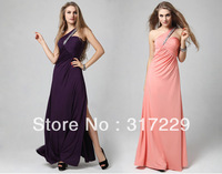 New Fashion Woman Sexy Slim Oblique Backless Long Evening Party Dress Prom Formal Gowns LF035