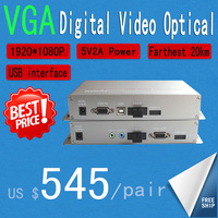 VGA Fiber Optic Extender VGA  Optical transmitter and receiver HD 1080P/60HZ 20KM Video Optical Free Delivery