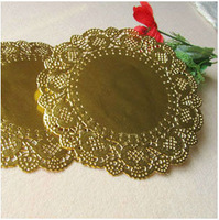 "Wholesale Romantic Gold Embossed Round Paper doily Metallic Party Wedding Cake Doilies 6.5"" inch Free shipping"