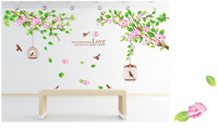 Pink Flower Tree Birdcage Wallpaper DIY WALL DECALS Stickers Home Deco,free shipping
