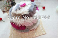 Rainbow The natural fur caps2013 autumn fall new style womens hat for winter cap fur ball/kids hats takes/new arrival Handmade