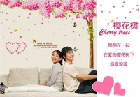Free Shipping Wholesale-- Sakura Wall Sticker 5Sets/Lot The Decoration Of Home Wall Stickers Decor 250x220CM