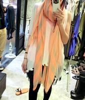 Free Shipping Summer fashion neon color block stripe oversized silk scarf long design oversized sunscreen cape female
