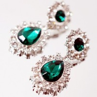 SLTD Jewelry Luxury vintage 01216 adr emerald gem rhinestone earrings green gem  Freeshipping