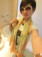 Free Shipping Spring and autumn fresh design long silk scarf fashion sun cape thin female scarf