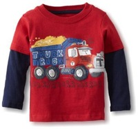 wholesale fashion red cars boys t shirt, cool truck children t shirts, autumn -summer casual tops.6pcs,1-6yrs,#5791