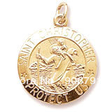 Free Shipping 10pcs a lot  18K gold or  rhodium plated St Christopher Patron Saint of Travelers July 25th religious charms